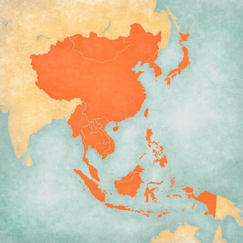 东亚地图-所有国家 库存例证