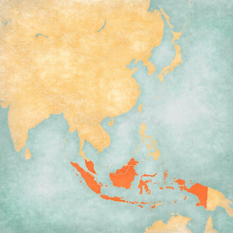 东亚-印度尼西亚和马来西亚的地图 皇族释放例证