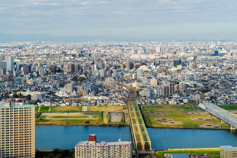 东京公寓和一座桥梁鸟瞰图在都市风景backgr 免版税库存图片