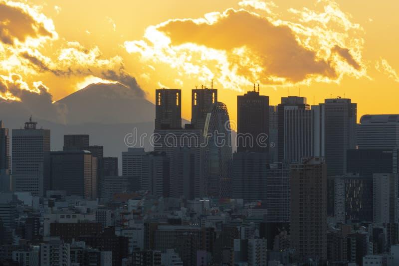 东京市地平线在日落期间的商业区 库存照片