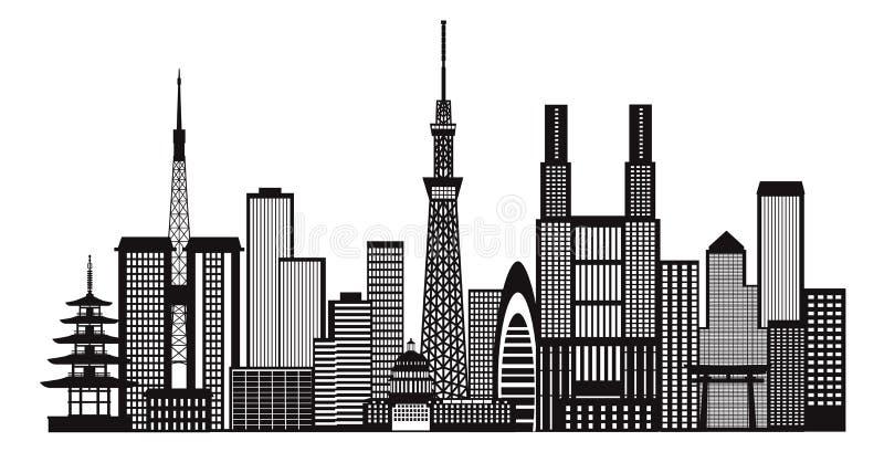 东京市地平线黑白例证 库存例证
