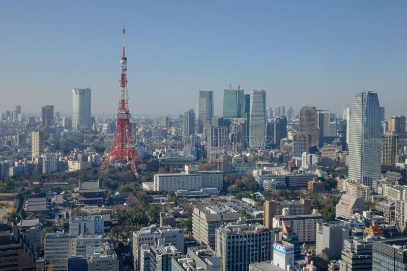 东京市塔,从高大厦上面的看法  免版税库存照片