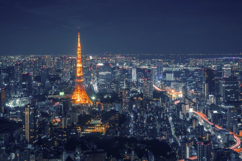 东京摩天大楼地平线和看法观察台的夜间的在日本 库存照片