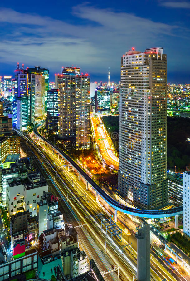 东京摩天大楼鸟瞰图, Minato,日本 免版税图库摄影