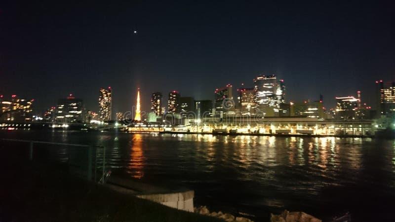 东京海湾夜场面 免版税库存图片