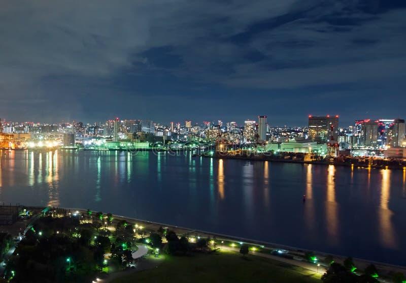 东京湾夜视图 免版税库存照片