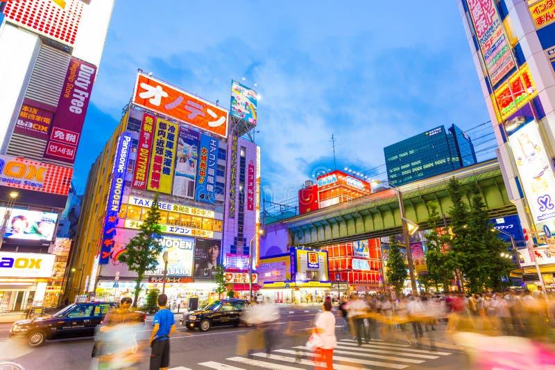 东京秋叶原大街忙碌火车的桥梁 免版税图库摄影