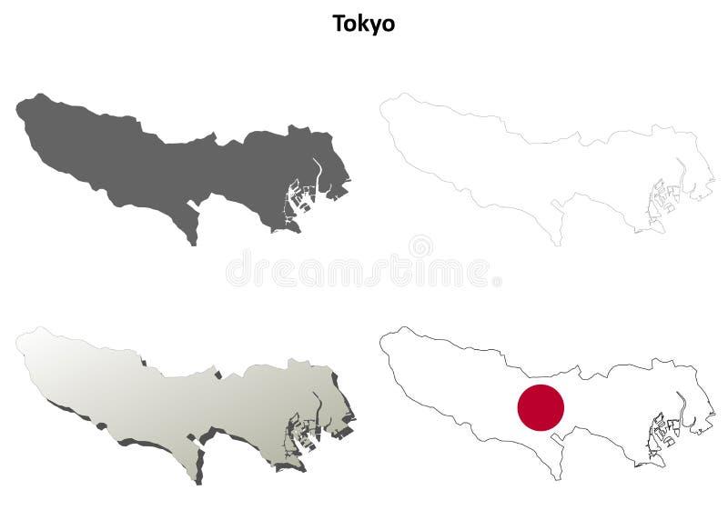 东京空白概述地图集合 向量例证