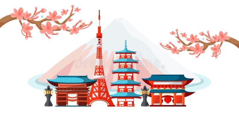 东京都市风景旅游地标 r 旅行向日本 日本风景,富士背景的房子 皇族释放例证