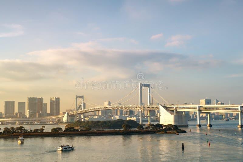 东京铁塔和彩虹桥在日本 免版税库存照片