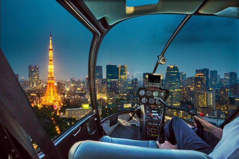 东京铁塔直升机 免版税图库摄影