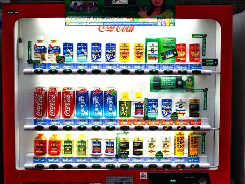 东京饮料自动售货机在晚上,日本 免版税图库摄影