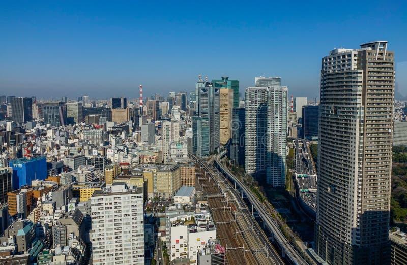 东京,日本鸟瞰图  库存照片