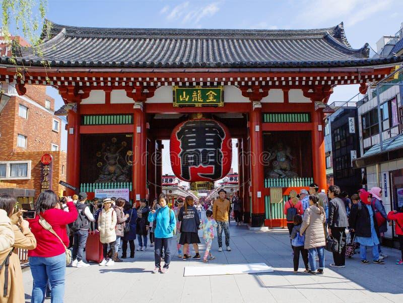东京,日本,浅草 Senso籍寺庙 `雷门`, Kaminarimon 库存图片