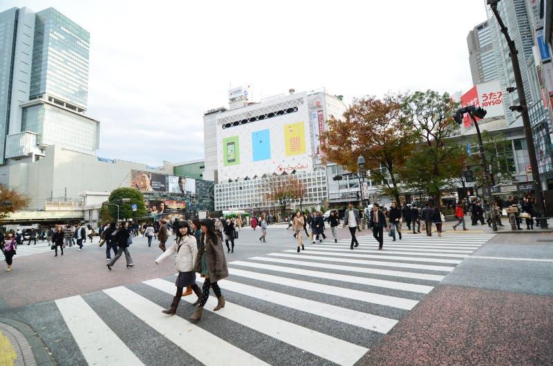 东京,日本- 2013年11月28日:横渡涩谷的中心人人群  库存照片