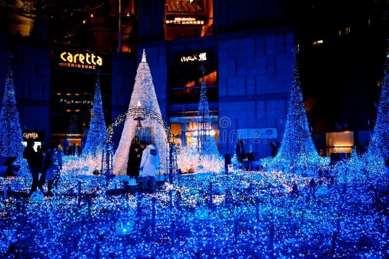东京,日本- DEC 19 :圣诞灯的照明在Shiodome的 免版税库存照片