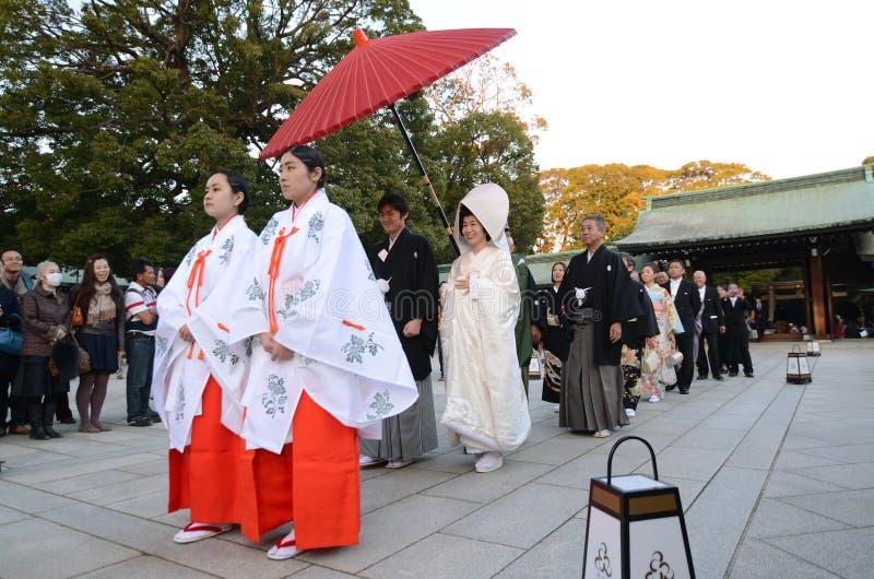 东京, JAPAN-NOV 20 :日本婚礼 免版税库存图片