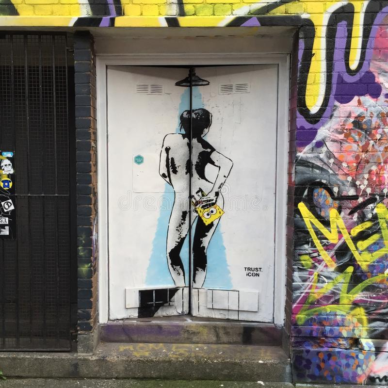 东伦敦街道画 库存图片