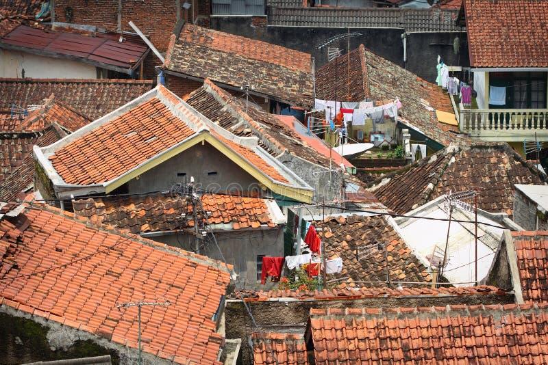 东南亚住房不足和生活条件过于拥挤 免版税库存照片