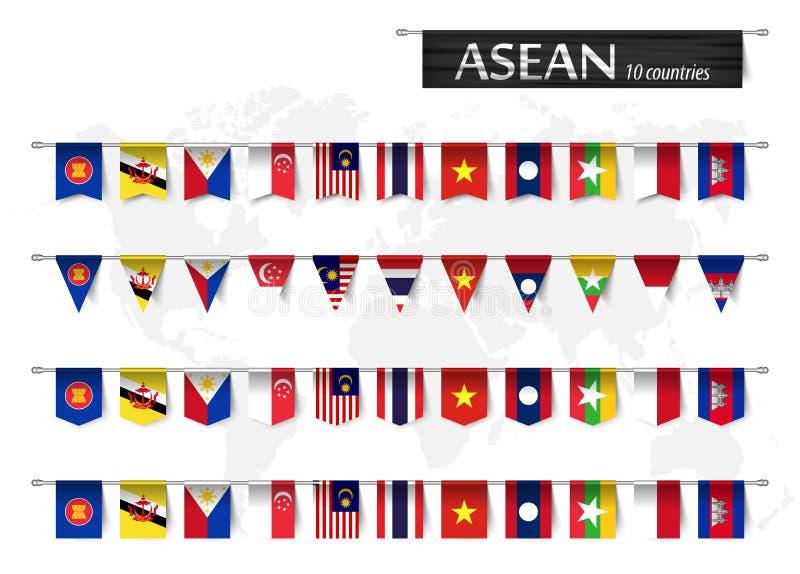 东南亚国家联盟东盟和各种各样的国家会员资格的形状国家旗子在杆和世界地图垂悬了 皇族释放例证