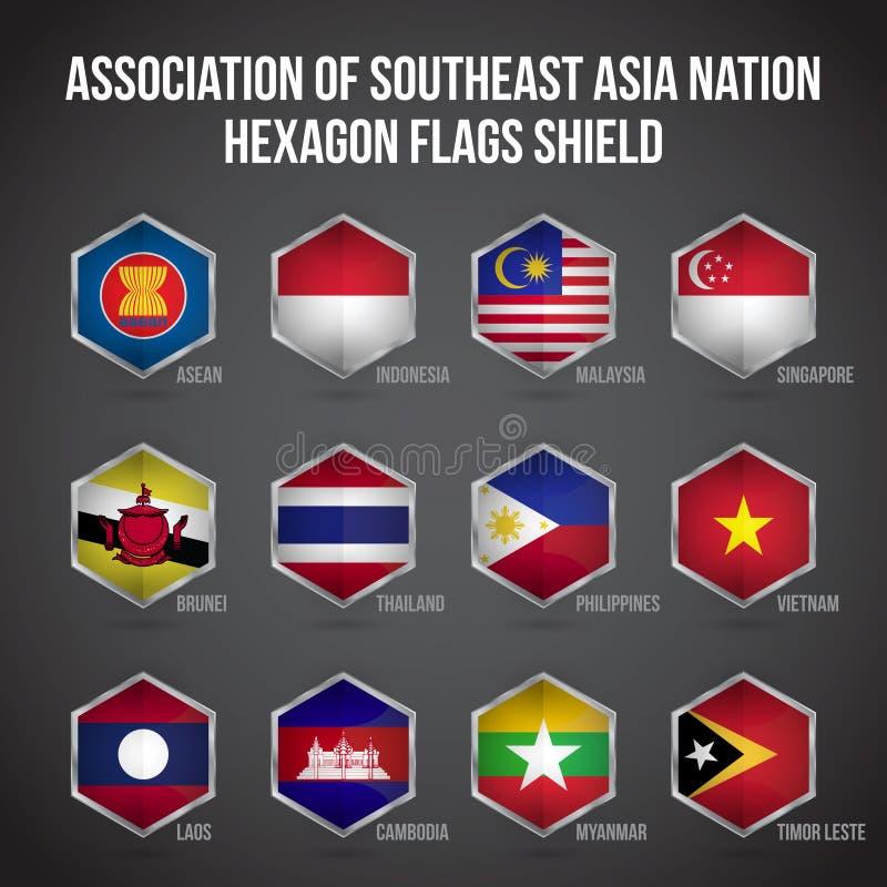 东南亚国家联盟六角形下垂盾 向量例证