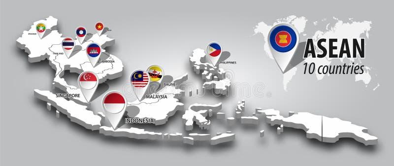东南亚国家联盟和会员资格旗子在3D地图东南亚旅行透视图和GPS导航员别针在灰色颜色梯度背景 皇族释放例证