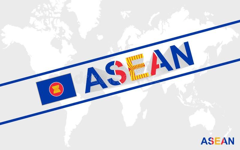 东南亚国家联盟旗子和文本例证 库存例证