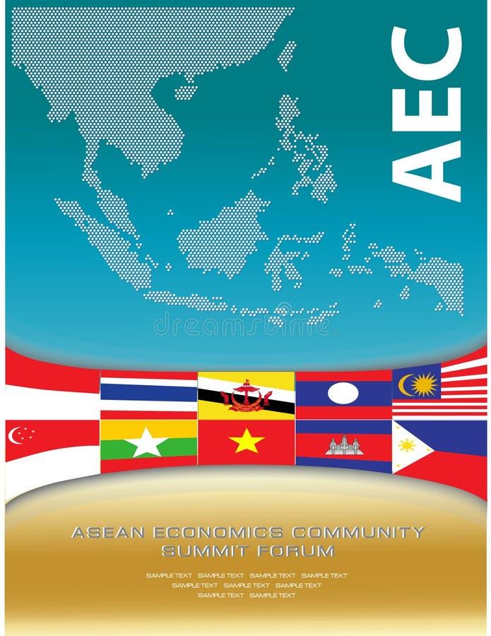 东南亚国家联盟映射被加点的样式例证,背景的 库存例证