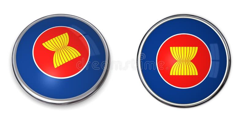 东南亚国家联盟横幅按钮 库存例证