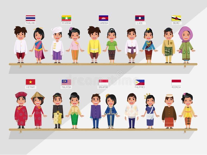 东南亚国家联盟男孩和女孩传统服装的- ith旗子 皇族释放例证