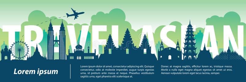 东南亚国家联盟顶面著名地标剪影样式,内文本,移动  向量例证