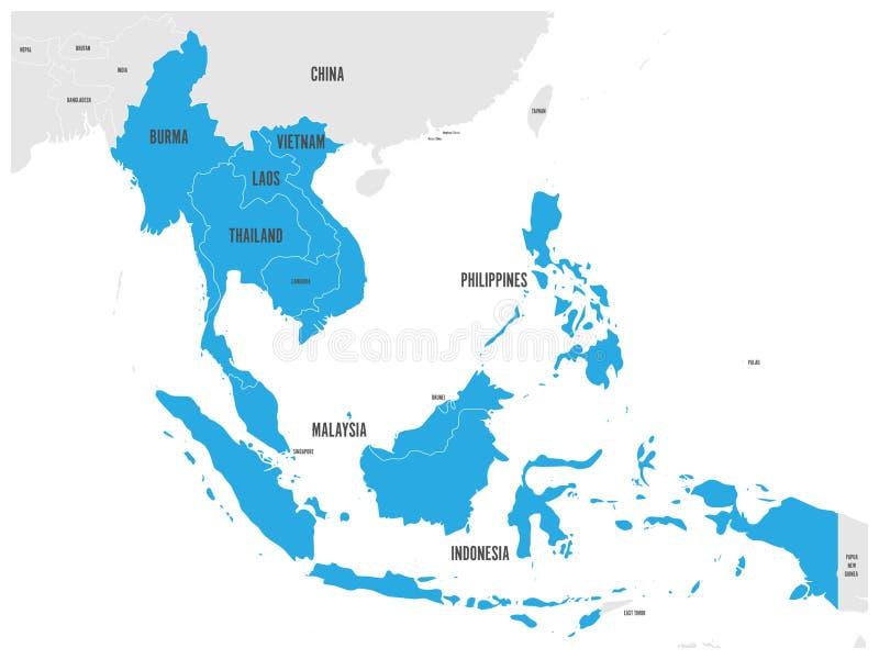 东南亚国家联盟经济共同体, AEC,地图 与被突出的蓝色的灰色地图 库存例证