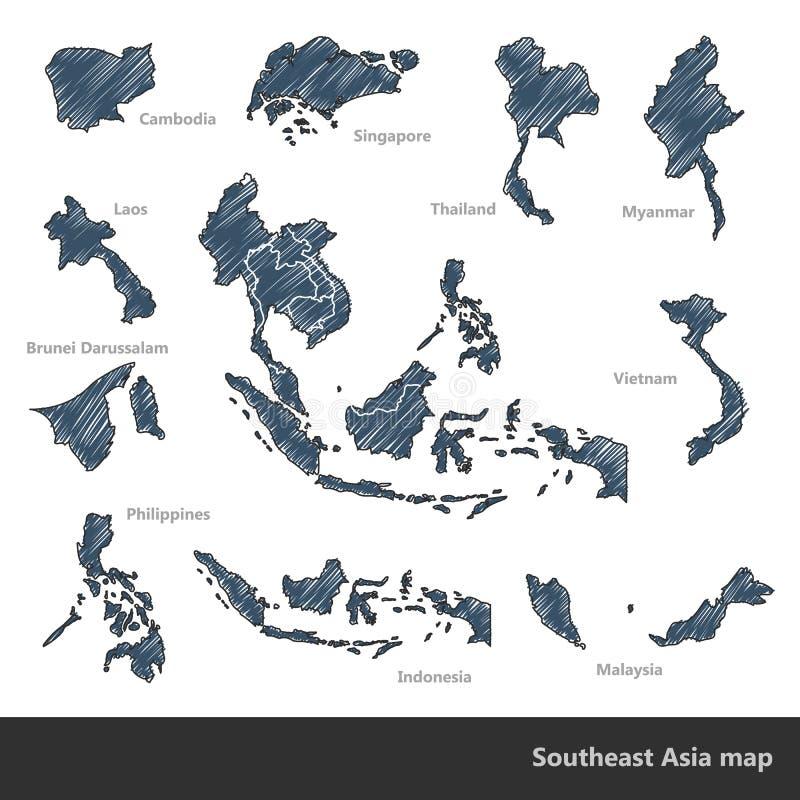 东南亚地图 库存例证