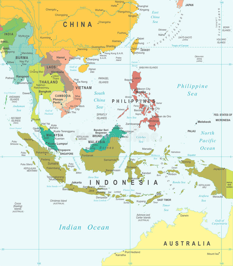 东南亚-地图-例证 库存例证