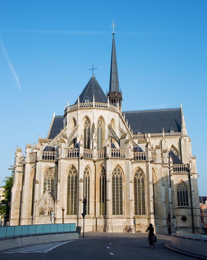 从东南部的鲁汶-彼得斯哥特式大教堂 库存图片
