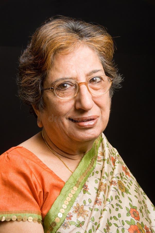 东印度人前辈妇女 免版税库存照片