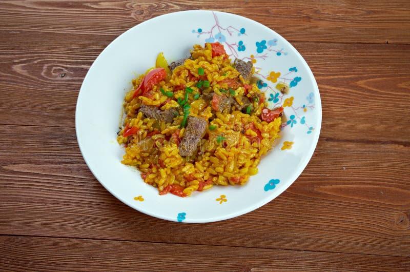 东印度人Biryani米盘用肉 免版税库存照片