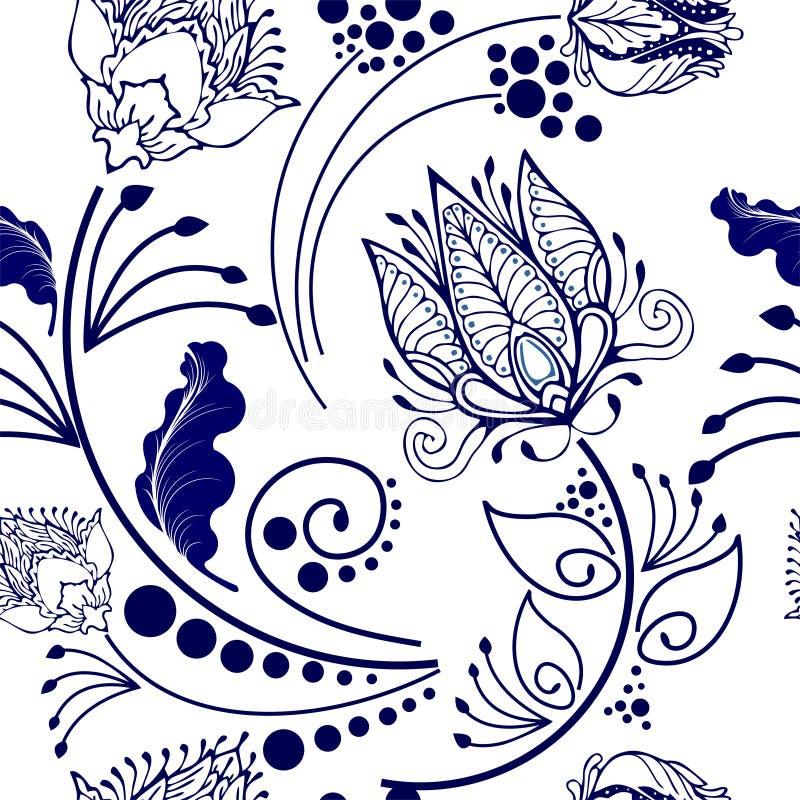 东方中国植物的主题的花图形设计在瓷样式无缝的样式 皇族释放例证