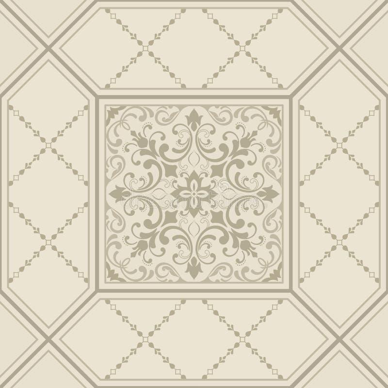 东方传染媒介经典之作样式 与重复元素的无缝的抽象背景 锦缎模式 瓦片 库存例证