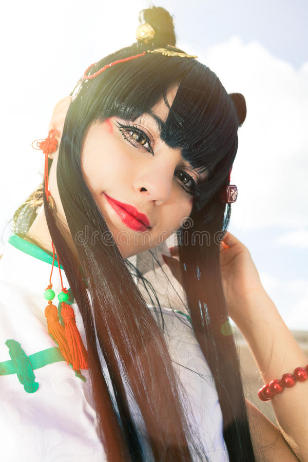 东方女孩佩带的构成 cosplay的Manga 免版税库存照片