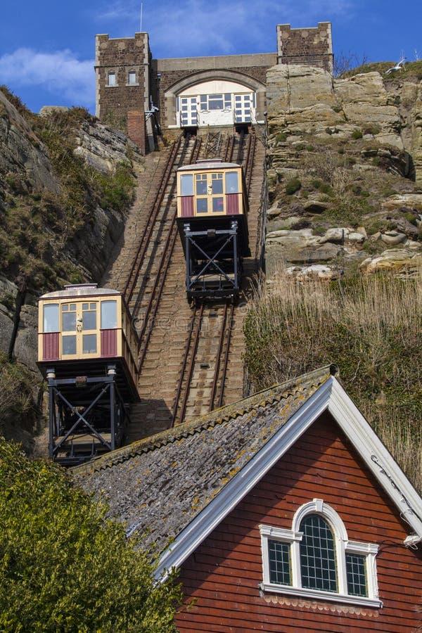 东方小山铁路推力的看法在海斯廷斯 免版税库存图片