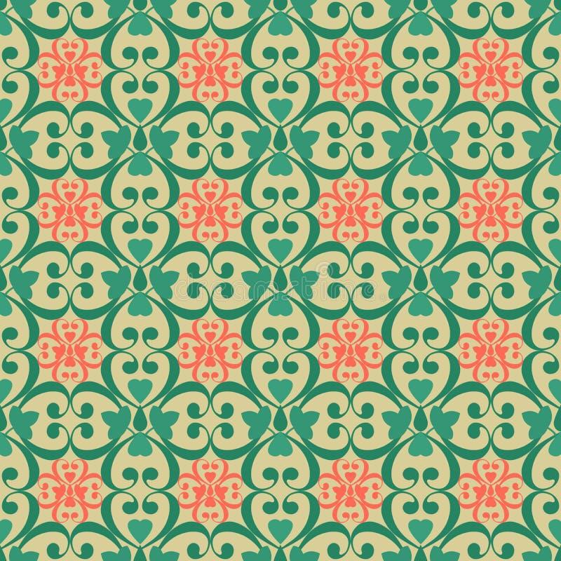 东方无缝的样式锦缎蔓藤花纹和花卉元素b 皇族释放例证