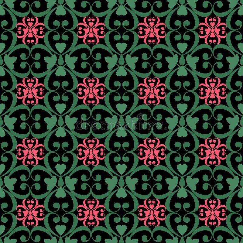 东方无缝的样式锦缎蔓藤花纹和花卉元素t 向量例证
