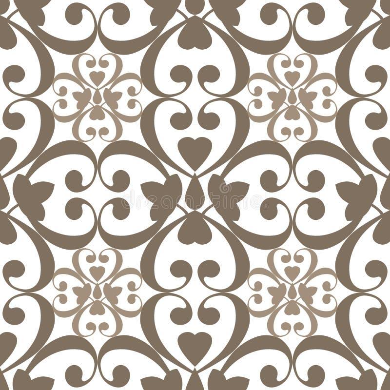 东方无缝的样式锦缎蔓藤花纹和花卉棕色elem 皇族释放例证