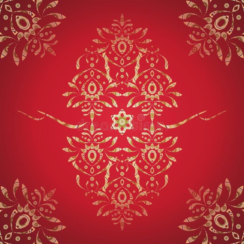 东方样式装饰品,在红色背景的金子 向量 库存图片