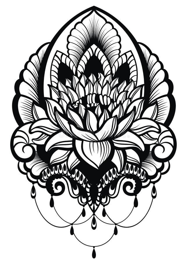 东方样式,花,莲花 库存例证