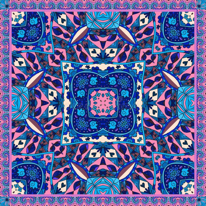 东方班丹纳花绸印刷品 可爱的桌布 丝绸围巾 与种族主题的装饰背景 皇族释放例证