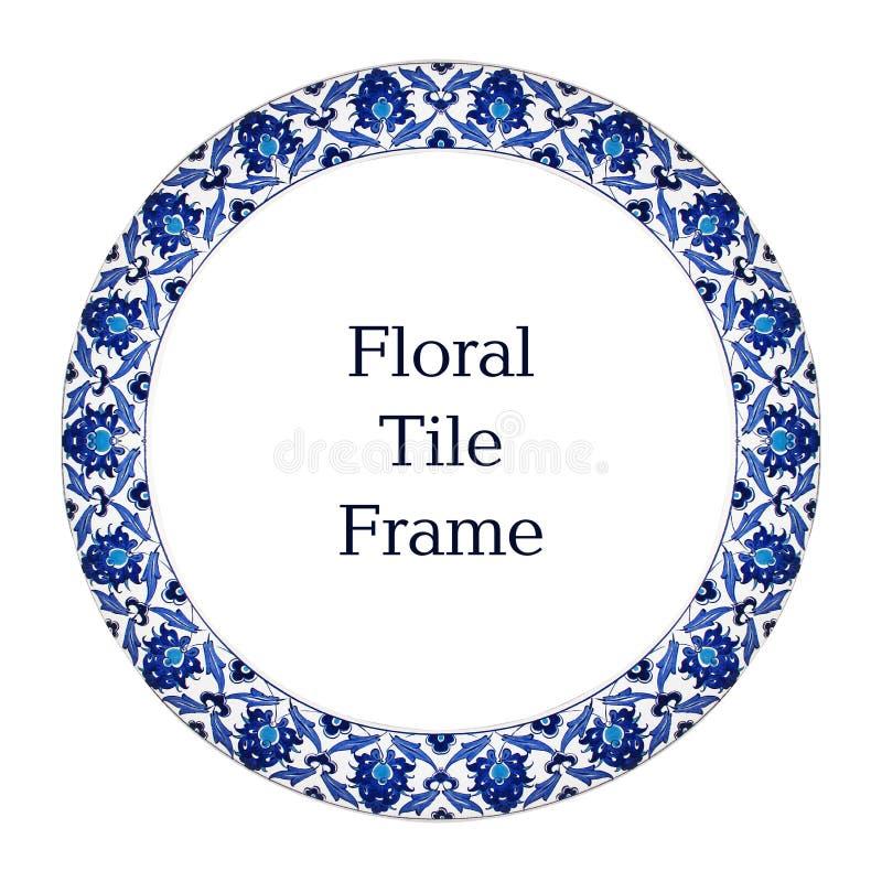 东方瓦片样式花饰蓝色白色框架 免版税库存图片