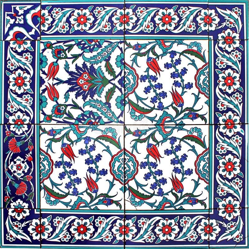 东方瓦片样式花饰蓝色白色 免版税图库摄影