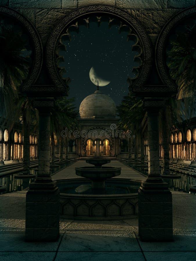 东方的魔术在夜, 3d CG之前 皇族释放例证